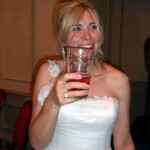 The ever so happy bride. And beer.